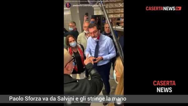 Blitz di Paolo Sforza anche da Matteo Salvini: gli stringe la mano nonostante l'emergenza Covid   VIDEO